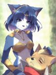 1boy 1girl :3 animal_ear_fluff animal_ears animal_nose aqua_eyes armor bandana bandeau bangs bare_shoulders blonde_hair blue_fur blue_hair blurry blurry_background body_fur breasts brown_fur choker circlet closed_eyes closed_mouth collarbone commentary_request crystal day emerald_(gemstone) eyebrows_visible_through_hair fox_boy fox_ears fox_girl fox_mccloud fox_tail furry gem green_background hairband hand_on_another's_head happy high_collar highres jacket jewelry krystal lap_pillow looking_at_another looking_down namagaki_yukina necklace open_clothes open_jacket outdoors parted_lips ruby_(gemstone) scratches shiny shiny_hair short_hair shoulder_armor small_breasts smile snout solo_focus star_fox tail tribal two-tone_fur upper_body vambraces white_fur white_jacket yellow_choker yellow_fur yellow_hairband