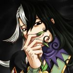 1boy ashiya_douman_(fate) asymmetrical_clothes asymmetrical_hair bell black_eyes black_hair curly_hair earrings face fate/grand_order fate_(series) fingernails green_eyeshadow green_kimono green_lipstick green_nails hair_bell hair_between_eyes hair_intakes hair_ornament hand_on_own_face japanese_clothes jewelry kimono lipstick long_hair looking_at_viewer magatama magatama_earrings makeup male_focus mikage_dai multicolored_hair open_clothes open_kimono ribbed_sleeves sharp_fingernails smile solo textless two-tone_hair upper_body very_long_fingernails very_long_hair white_hair
