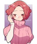 1girl :| artist_name blush border brown_eyes brown_hair closed_mouth do_m_kaeru eyebrows_visible_through_hair gradient gradient_background hand_to_head long_sleeves okumura_haru persona persona_5 pink_sweater ribbed_sweater short_over_long_sleeves short_sleeves solo sweater upper_body white_border white_sleeves