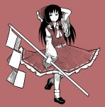 1girl ascot bangs black_footwear black_hair bobby_socks bow closed_mouth detached_sleeves frilled_bow frilled_skirt frills gohei hair_bow hair_tubes hakurei_reimu hand_in_hair highres holding leg_up long_hair looking_at_viewer nontraditional_miko peroponesosu. red_background red_bow red_ribbon red_shirt red_skirt ribbon ribbon-trimmed_skirt ribbon-trimmed_sleeves ribbon_trim shide shirt simple_background skirt socks solo touhou white_legwear white_neckwear white_ribbon wide_sleeves