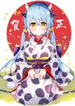 1girl animal_ears animal_print bangs black_hairband blue_hair blush breasts chinese_zodiac closed_mouth commentary cow_ears cow_girl cow_horns cow_print eyebrows_visible_through_hair hair_between_eyes hair_ornament hair_scrunchie hairband highres horns japanese_clothes kimono long_hair long_sleeves looking_at_viewer low_twintails medium_breasts meito_(maze) obi original print_kimono sash scrunchie sitting sleeves_past_wrists socks solo translation_request twintails very_long_hair wariza white_kimono white_legwear wide_sleeves year_of_the_ox yellow_eyes yellow_scrunchie