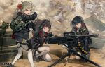 3girls ammunition_belt backless_outfit binoculars blue_eyes boots bun_cover character_name chinese_clothes combat_boots commentary dress girls_frontline gloves grenade_launcher hair_rings harness high_collar highres multi-tied_hair multiple_girls official_art pouch print_dress qlz-04 qlz-04_(girls_frontline) red_eyes scope tripod weapon yellow_eyes