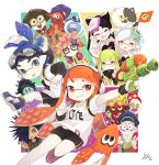 +_+ 5girls 6+boys annie_(splatoon) anniversary artist_name bangs beard bike_shorts black-framed_eyewear black_hair black_jumpsuit black_sclera black_shirt black_shorts blue_eyes blue_footwear blue_hair blue_headwear blunt_bangs callie_(splatoon) cap'n_cuttlefish clownfish collar colored_sclera commentary cousins crusty_sean detached_collar diffraction_spikes dj_octavio domino_mask earrings facial_hair facing_another flag food food_on_head goggles goggles_on_head green_hair grin hair_pulled_back hat headgear holding holding_flag holding_weapon ika_esu ink_tank_(splatoon) inkling jelonzo_(splatoon) jewelry judd_(splatoon) jumping logo long_hair long_sleeves looking_at_viewer marie_(splatoon) mask moe_(splatoon) mole mole_under_eye multiple_boys multiple_girls object_on_head octotrooper orange_eyes orange_hair outside_border peaked_cap pink_hair pointy_ears purple_footwear purple_hair rectangular_eyewear red_eyes scrunchie sheldon_(splatoon) shirt shoes short_hair short_over_long_sleeves short_sleeves shorts signature silver_hair single_vertical_stripe smile smirk sneakers spiky_hair splat_bomb_(splatoon) splatoon_(series) splatoon_1 splattershot_(splatoon) spyke_(splatoon) squid squidbeak_splatoon standing strapless swept_bangs t-shirt tentacle_hair tied_hair topknot v vest waving weapon white_collar white_shirt yellow_eyes yellow_vest