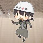 1girl chest_harness chibi commentary_request fairy_(kantai_collection) full_body genba_neko green_skirt hardhat harness helmet kantai_collection kasuga_maru_(kantai_collection) meme mouth_hold parody pointing senbei skirt solo taiyou_(kantai_collection) yamashichi_(mtseven)