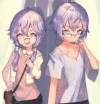 1boy 1girl bag bespectacled brother_and_sister cio_hakatano collarbone commentary glasses highres jacket looking_at_another pink_shirt purple_hair shirt short_hair_with_long_locks short_sleeves shoulder_bag siblings sidelocks sketch spread_legs twins upper_body violet_eyes vocaloid voiceroid white_jacket white_shirt yuzuki_yukari yuzuki_yukari's_younger_twin_brother