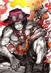 1boy black_hair black_shorts english_commentary fire flaming_hand hat ink_(medium) looking_at_viewer male_focus muscular mycks one_eye_covered one_piece pirate portgas_d_ace red_headwear shirtless shorts sitting smirk solo spot_color traditional_media