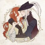 2girls arms_around_neck ascot breasts cape coat cravat dress frilled_dress frilled_sleeves frills gem glasses gloves hair_ribbon hair_tie hand_on_another's_arm hat hat_feather highres holding hug jewelry kiss lady_maria_of_the_astral_clocktower long_hair long_sleeves multiple_girls necklace open_mouth original phoeniixtears ponytail ribbon ring simple_background smile tricorne white_background white_hair yellow_dress yuri