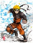 1boy barefoot_sandals blonde_hair blue_eyes clenched_hand headband highres konohagakure_symbol looking_at_viewer male_focus mycks naruto_(series) naruto_shippuuden ninja orange_legwear rasengan thigh_strap track_suit traditional_media uzumaki_naruto v-shaped_eyebrows watercolor_(medium) whiskers