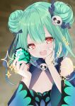 1girl absurdres blurry blurry_background blush commentary_request detached_sleeves diamond_(gemstone) double_bun earrings flat_chest gothic_lolita green_hair hair_between_eyes hair_ornament heart heart-shaped_pupils highres hololive huge_filesize jewelry lolita_fashion minecraft moizumi_shipon open_mouth red_eyes symbol-shaped_pupils uruha_rushia