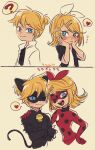 1boy 1girl ;) ;d ? adrien_agreste adrien_agreste_(cosplay) animal_ears back-to-back bell black_bodysuit blonde_hair blue_eyes blue_sclera blush bodysuit cat_boy cat_ears catsuit chat_noir chat_noir_(cosplay) colored_sclera commentary cosplay crossed_arms domino_mask hair_ornament hairclip hand_on_another's_shoulder hand_on_hip hands_on_own_cheeks hands_on_own_face heart highres kagamine_len kagamine_rin ladybug_(character) ladybug_(character)_(cosplay) looking_at_another looking_at_viewer marinette_dupain-cheng marinette_dupain-cheng_(cosplay) mask miraculous_ladybug nervous one_eye_closed open_mouth polka_dot pout short_ponytail smile spoken_heart spoken_question_mark translated ukata vocaloid