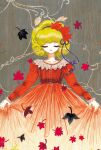 1girl black_hairband blonde_hair character_request closed_eyes dress hairband hiyodoribbon holding holding_clothes holding_dress leaf long_sleeves red_dress short_hair smile solo touhou upper_body