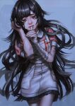 1girl apron bandages bandaid bandaid_on_arm bandaid_on_cheek bangs blue_background commentary_request cowboy_shot crying crying_with_eyes_open danganronpa_(series) danganronpa_2:_goodbye_despair hand_in_hair hands_up highres k041800 long_hair looking_at_viewer mole mole_under_eye open_mouth pink_shirt pleated_skirt puffy_short_sleeves puffy_sleeves purple_hair shirt short_sleeves signature simple_background skirt solo tears thumb_to_mouth tsumiki_mikan violet_eyes white_apron
