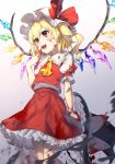 1girl ascot blonde_hair blood blood_on_face bloody_clothes bloody_hands bow collared_shirt cowboy_shot crystal eyelashes fang flandre_scarlet frilled_hat frilled_shirt frilled_shirt_collar frilled_skirt frilled_sleeves frills gradient gradient_background hand_on_own_face hat hat_bow hat_ribbon highres holding holding_clothes holding_hat jill_07km mob_cap open_mouth puffy_short_sleeves puffy_sleeves red_bow red_eyes red_skirt red_vest ribbon shirt short_hair short_sleeves side_ponytail simple_background skirt skirt_set tongue touhou upper_body vest white_background white_bow white_headwear white_shirt wings witch_hat yellow_neckwear