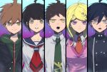 2girls 3boys ahoge akamatsu_kaede bangs black_hair black_jacket blonde_hair brother_and_sister brown_hair collarbone collared_shirt commentary_request danganronpa:_trigger_happy_havoc danganronpa_(series) danganronpa_2:_goodbye_despair danganronpa_another_episode:_ultra_despair_girls danganronpa_v3:_killing_harmony double-breasted eighth_note frown gradient gradient_background green_eyes green_jacket green_neckwear grey_shirt hair_between_eyes hair_ornament highres hinata_hajime jacket long_hair looking_at_viewer lower_teeth multiple_boys multiple_girls musical_note musical_note_hair_ornament naegi_komaru naegi_makoto necktie open_clothes open_jacket open_mouth pink_background pink_eyes red_neckwear saihara_shuuichi sailor_collar school_uniform shirt short_hair siblings spoilers suzumetarou sweat teeth trait_connection upper_body white_shirt