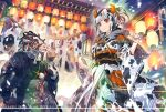 >:) 1boy 1girl 2021 animal_ears animal_print architecture bell black_hair black_kimono black_sash bow braid bull candy_apple capelet chinese_zodiac closed_mouth commentary_request cow_boy cow_ears cow_girl cow_horns cow_print cowbell cowboy_shot diffraction_spikes east_asian_architecture english_text festival food food_request fringe_trim from_below fur fur_collar hands_up happy_new_year holding holding_food horns japanese_clothes kebab kimono lantern lens_flare licking_lips long_sleeves looking_at_viewer meat minotaur monster_boy multicolored_hair new_year obi original paper_lantern pom_pom_(clothes) ponytail red_capelet red_eyes rope sash shide shimenawa short_eyebrows short_hair sidelocks skewer smile sun sunlight tassel thick_eyebrows tongue tongue_out torii turtleneck two-tone_hair white_bow white_hair white_kimono white_sash wide_sleeves year_of_the_ox yellow_nails zounose
