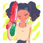 1girl black_hair blush border hair_ornament hairclip highres holding holding_water_gun long_hair mu_mashu one_eye_closed original red_nails signature solo tan tanline twintails upper_body water_gun white_border