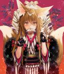 1girl animal_ear_fluff animal_ears bangs black_gloves brown_eyes brown_hair closed_mouth commentary_request eyebrows_visible_through_hair fangs flower fox_ears fox_girl fox_tail fur_trim gloves hair_between_eyes hands_up highres holding holding_money japanese_clothes jewelry kimono kitsune long_hair looking_at_viewer monaka_natsume money mouth_hold multiple_tails obi original purple_flower ring sash short_sleeves solo striped tail tail_raised two_tails upper_body vertical-striped_kimono vertical_stripes very_long_hair wide_sleeves