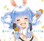 1girl animal_ears blue_hair braid carrot closed_eyes confetti don-/wbg don-chan_(usada_pekora) facing_viewer heart heart_in_mouth highres holding holding_hair hololive laughing multicolored_hair nira_(vira) open_mouth playing_with_hair rabbit_ears sidelocks solo twin_braids twintails two-tone_hair upper_body usada_pekora virtual_youtuber