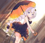 1girl absurdres ahoge bare_shoulders black_dress blue_eyes blurry blurry_background braid breasts cio_hakatano commentary contrapposto cowboy_shot dress hair_ornament hair_tubes highres holding holding_umbrella kizuna_akari light_smile long_hair luggage medium_breasts sleeveless sleeveless_dress solo star_(symbol) star_print twin_braids umbrella very_long_hair voiceroid white_hair