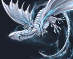 bioluminescence blue-eyes_alternative_white_dragon blue_eyes claws dragon duel_monster flying highres night night_sky no_humans ryou_(cagw5223) sharp_teeth sky tail teeth wings yu-gi-oh!