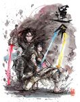 1boy 1girl alternate_universe bangs barefoot_sandals black_eyes black_hair cloak dual_wielding energy_sword floating_hair hair_bun highres holding holding_sword holding_weapon jedi katana kylo_ren lightsaber looking_at_viewer mycks rey_(star_wars) samurai sith star_wars star_wars:_the_rise_of_skywalker sword traditional_media watercolor_(medium) weapon