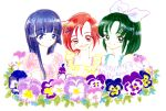 aoki_reika bangs blue_eyes blue_hair blunt_bangs bow flower green_eyes green_hair hair_bow hair_ornament hairclip hino_akane_(smile_precure!) hiyodoribbon long_sleeves midorikawa_nao pansy parted_bangs parted_lips pink_flower ponytail precure purple_flower red_eyes redhead short_hair smile smile_precure! upper_body white_bow