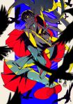 1boy animal arm_up armpit_cutout bird black_hair clothing_cutout colored_sclera colorful crow earrings flying hair_between_eyes hatching_(texture) highres jewelry long_sleeves male_focus nanora_(sero4) original parted_lips red_eyes wide_sleeves yellow_sclera