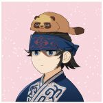1boy animal animal_on_head black_hair blue_headband blue_kimono closed_mouth commentary_request framed golden_kamuy headband highres japanese_clothes kimono kiroranke looking_away ma_kns male_focus on_head pink_background simple_background solo