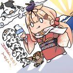 1girl absurdres animal bird blonde_hair blush bottle cat chibi chinese_zodiac commentary_request cow dyson_(edaokunnsaikouya) hair_flaps hair_ornament hair_ribbon hairclip happy_new_year highres japanese_clothes kantai_collection kimono licking_lips long_hair milk_bottle new_year obi remodel_(kantai_collection) ribbon sash scarf smile tongue tongue_out wide_sleeves yukata yuudachi_(kantai_collection)