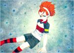 1boy black_eyes black_shorts feet_out_of_frame hiyodoribbon inazuma_eleven_(series) inazuma_eleven_go kita_ichiban multicolored_shirt redhead short_sleeves shorts socks solo striped striped_legwear traditional_media