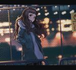 1girl bangs black_legwear blue_jacket blurry blurry_background blurry_foreground brown_hair chain-link_fence closed_mouth commentary_request depth_of_field dress fence hands_in_pockets highres idolmaster idolmaster_cinderella_girls jacket kamiya_nao long_hair long_sleeves night open_clothes open_jacket outdoors pantyhose puffy_long_sleeves puffy_sleeves railing red_eyes ryokucha_manma sign solo sweater sweater_dress thick_eyebrows white_sweater