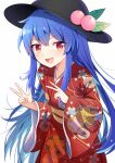 1girl alternate_costume bangs black_headwear blue_hair collarbone cowboy_shot double_v e.o. eyebrows_visible_through_hair floral_print food fruit hair_between_eyes highres hinanawi_tenshi japanese_clothes kimono leaf long_hair long_sleeves looking_at_viewer open_mouth peach red_eyes red_kimono simple_background smile standing touhou v v-shaped_eyebrows white_background wide_sleeves