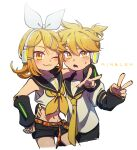 1boy 1girl ;3 arm_around_neck ascot belt blonde_hair blush bow brother_and_sister character_name commentary detached_sleeves fang hair_bow hair_ornament hairclip hand_on_another's_waist hand_on_hip headphones headset highres hug kagamine_len kagamine_rin looking_at_viewer midriff navel necktie nervous number_tattoo one_eye_closed sailor_collar shirt shorts shoulder_tattoo siblings skin_fang sleeveless sleeveless_shirt sweatdrop tattoo treble_clef twins ukata v vocaloid yellow_eyes yellow_nails yellow_neckwear