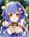 alternate_costume blue_hair coat coffee food_themed_hair_ornament hair_ornament highres hinanawi_tenshi kana_(user_rkuc4823) long_hair open_mouth peach_hair_ornament red_eyes smile snow touhou winter