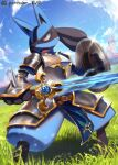 armor artist_name belt building clouds commentary_request day fangs gauntlets gen_4_pokemon glint grass highres holding holding_shield holding_sword holding_weapon legs_apart lucario open_mouth outdoors pantheon_eve pokemon pokemon_(creature) red_eyes shield shiny sky solo spikes standing sword tongue watermark weapon