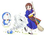 1girl brown_hair character_request doraemon doraemon_(character) open_mouth short_hair simple_background ueyama_michirou white_background