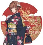 1girl 2021 bag bangs breasts brown_hair eyebrows_visible_through_hair floral_print gloves hair_ornament hand_on_own_chest highres holding holding_bag japanese_clothes kantai_collection kimono long_sleeves mutsu_(kantai_collection) new_year obi rokuwata_tomoe sash short_hair smile solo upper_body watermark web_address white_gloves wide_sleeves yellow_eyes