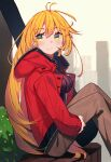 1girl absurdres beads black_sweater blonde_hair brown_pants cio_hakatano cityscape coat commentary from_side hair_beads hair_ornament highres long_hair looking_to_the_side pants red_coat ribbed_sweater sitting smile solo sweater tsurumaki_maki turtleneck very_long_hair voiceroid yellow_eyes