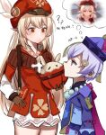 2girls ? ahoge bag bead_necklace beads blonde_hair blush dress genshin_impact half-closed_eyes hat highres jewelry jiangshi klee_(genshin_impact) korean_text multiple_girls necklace older pengrani purple_hair qiqi red_eyes size_difference thought_bubble translation_request violet_eyes