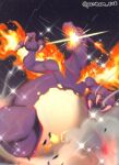 alternate_color artist_name breathing_fire charizard claws commentary_request fire from_below gen_1_pokemon gigantamax gigantamax_charizard glowing highres night no_humans outdoors pantheon_eve pokemon pokemon_(creature) shiny_pokemon sky solo sparkle star_(sky) watermark