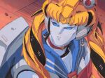 1980s_(style) 1girl arcee autobot bishoujo_senshi_sailor_moon blonde_hair blue_eyes choker clenched_teeth cosplay crescent crescent_earrings crossover earrings heart heart_choker jewelry looking_up marble-v mecha no_humans red_choker retro_artstyle sailor_moon sailor_moon_(cosplay) sailor_moon_redraw_challenge solo teeth transformers twintails