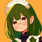 1girl bangs blush brown_eyes character_request copyright_request glasses green_hair hair_ribbon highres long_hair looking_at_viewer moai_(more_e_4km) portrait ribbon round_eyewear simple_background smile solo twintails white_ribbon yellow_background