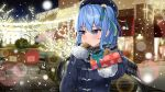 1girl absurdres awning bench beret blue_eyes blue_hair blue_jacket blurry blush bokeh brick_road brown_gloves building bush christmas christmas_lights city depth_of_field eyelashes gift gloves hand_on_own_chest hat highres holding holding_gift hololive hoshimachi_suisei incoming_gift jacket kiriyakundesu lens_flare long_hair looking_to_the_side night outdoors plaid plaid_scarf scarf side_ponytail signature snowing solo tree tsundere tsurime virtual_youtuber wavy_hair winter_clothes