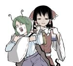 2girls antennae ascot bangs black_eyes black_hair bow cape detached_sleeves green_eyes green_hair green_nails hair_bow hair_tubes hakurei_reimu half-closed_eyes highres holding holding_another insecticide long_sleeves looking_at_another looking_at_viewer medium_hair multiple_girls nontraditional_miko pants peroponesosu. red_bow red_ribbon red_shirt red_skirt ribbon ribbon-trimmed_collar ribbon-trimmed_sleeves ribbon_trim scared shaded_face shirt short_hair skirt standing sweat touhou white_shirt wide_sleeves wriggle_nightbug yellow_neckwear