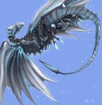 bioluminescence blue-eyes_alternative_white_dragon blue_eyes claws dated dragon duel_monster flying highres no_humans ryou_(cagw5223) sharp_teeth tail teeth wings yu-gi-oh!