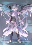 1boy bangs bare_shoulders belt black_footwear boots clothing_request commentary_request danganronpa_(series) danganronpa_2:_goodbye_despair dragon_boy dragon_tail dragon_wings feathered_wings full_body grey_background grey_hair hair_between_eyes highres horns knee_boots komaeda_nagito magic_circle male_focus medium_hair pants scales solo standing tail tuteurfars_shin wings
