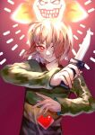 androgynous bangs blush brown_hair chara_(undertale) evil_grin evil_smile flowey_(undertale) gender_request glowing gradient gradient_background green_sweater grin hair_over_one_eye hands_up heart holding holding_knife knife light long_sleeves looking_at_viewer pink_background red_eyes short_hair smile striped striped_sweater sweater tuteurfars_shin undertale upper_body