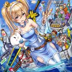 6+boys 6+girls \(^o^)/ alicia_priss atashin'chi bangs bare_shoulders bee bird blonde_hair blue_dress blue_eyes blue_sky blush bug candy captain_falcon character_request chicken clothing_cutout clouds collar collarbone copyright_name copyright_request crown cup_noodle day detached_sleeves dress dutch_angle eyepatch f-zero famicom food game_console ganbare_goemon grin headset heart_cutout helmet highres holding holding_sword holding_weapon hotplate ikura_(food) insect keyblade kirby kirby_(series) kyoro-chan ladder link long_hair looking_at_viewer mini_crown monikano morinaga_(brand) mother_(game) mother_2 multiple_boys multiple_girls my_melody ness_(mother_2) onegai_my_melody open_mouth outdoors panda pien_(game) pien_(pien) poptepipic popuko rockman roll_(rockman) rta-chan rta_in_japan sky smile sonic sonic_the_hedgehog standing sushi sweat sword tagme tail_concerto the_legend_of_zelda the_legend_of_zelda:_breath_of_the_wild thigh-highs thighs twintails wading water weapon wet white_legwear yae_(ganbare_goemon) yoshinoya_(restaurant)