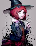 1girl artist_name bangs brown_vest clenched_hands collared_shirt commentary cowboy_shot danganronpa_(series) danganronpa_v3:_killing_harmony datcravat green_headwear green_jacket grey_background hair_ornament hairclip hands_up hat highres jacket long_sleeves looking_at_viewer looking_to_the_side magic open_clothes open_mouth pleated_skirt red_eyes redhead school_uniform shiny shiny_clothes shirt short_hair sideways_glance simple_background skirt solo vest witch_hat yumeno_himiko