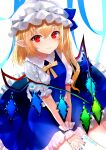 1girl alternate_color alternate_neckwear between_legs blonde_hair blue_nails blue_ribbon blue_skirt blue_vest commentary_request eyebrows_visible_through_hair fingernails flandre_scarlet hair_between_eyes hand_between_legs hat hat_ribbon light_blush looking_at_viewer mob_cap nail_polish one_side_up own_hands_together partial_commentary petticoat pointy_ears puffy_short_sleeves puffy_sleeves red_eyes ribbon sakizaki_saki-p shiny shiny_hair shirt short_hair short_sleeves simple_background sitting skirt smile solo touhou twitter_username vest wariza white_background white_headwear white_shirt wings wrist_cuffs yellow_neckwear yellow_ribbon